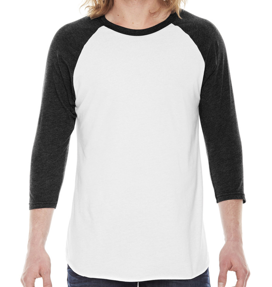 American Apparel Raglan 3/4-Sleeve Shirt- Made in the USA