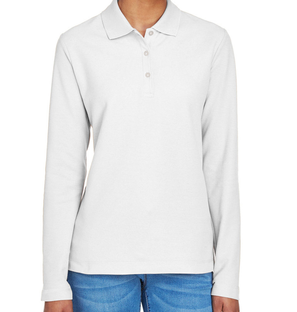 Devon & Jones Women's Long Sleeve Pique Polo