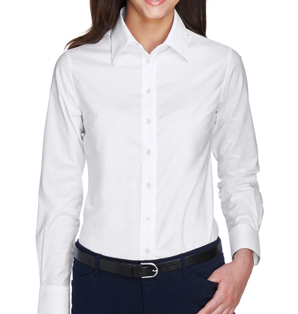 5f4da251 Harriton Women's Long Sleeve Oxford Shirt. Slide 1 of 3. Carousel Product; Carousel  Product ...